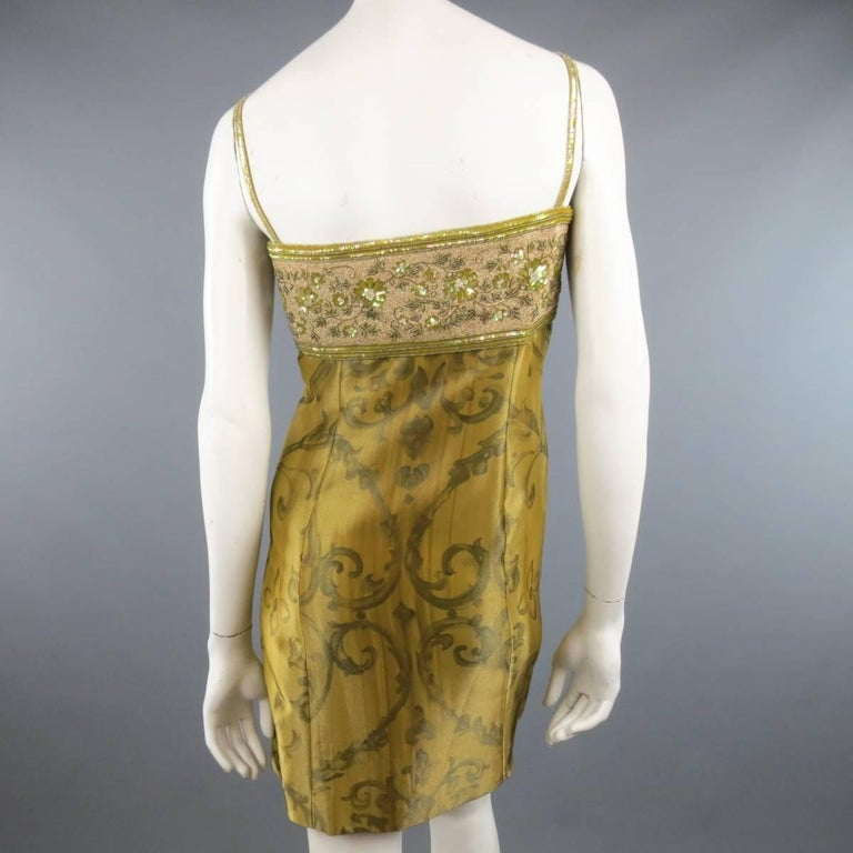 ESCADA COUTURE Size 10 Metallic Gold Brocade Sequin Bust Cocktail Dress 6