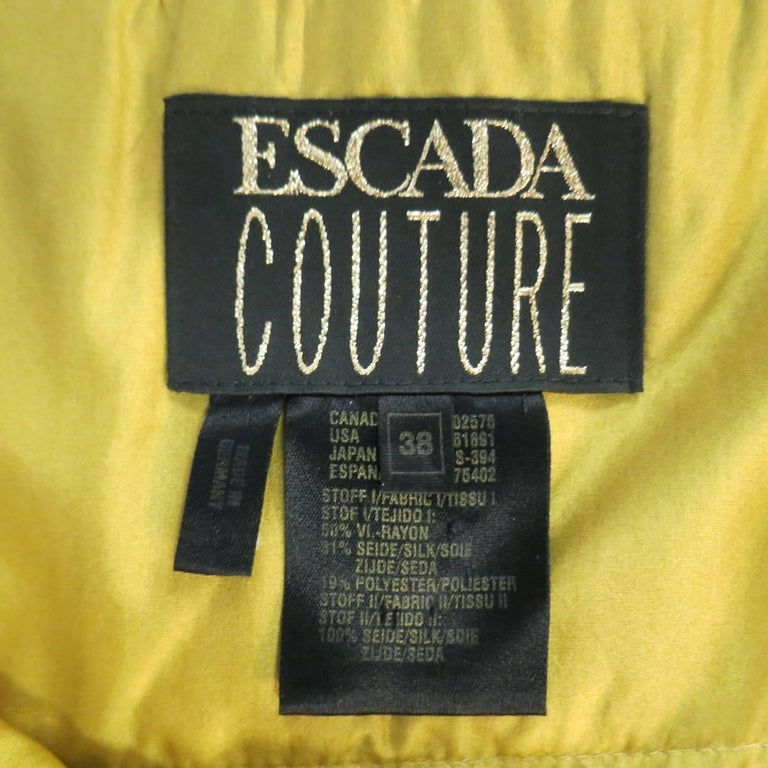 ESCADA COUTURE Size 10 Metallic Gold Brocade Sequin Bust Cocktail Dress 8