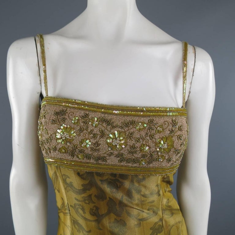 ESCADA COUTURE Size 10 Metallic Gold Brocade Sequin Bust Cocktail Dress 2