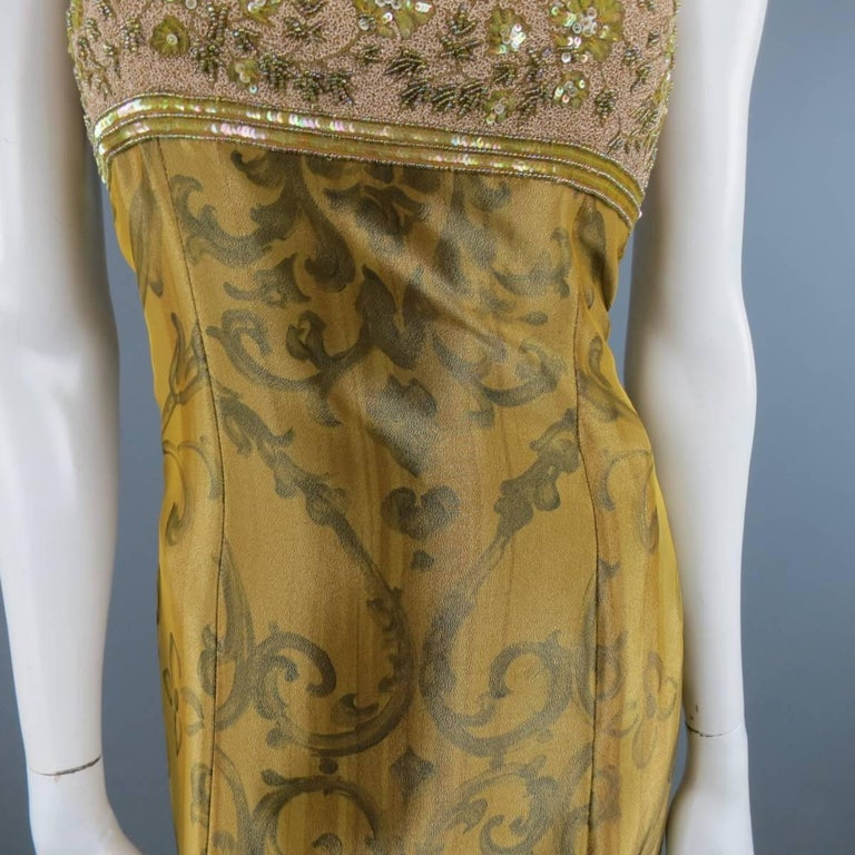 ESCADA COUTURE Size 10 Metallic Gold Brocade Sequin Bust Cocktail Dress 4