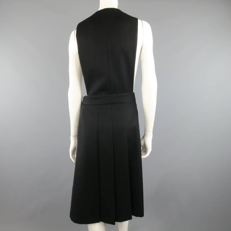 COMME des GARCONS Size L Black Wool Box Pleated Skirt Dress For Sale 1