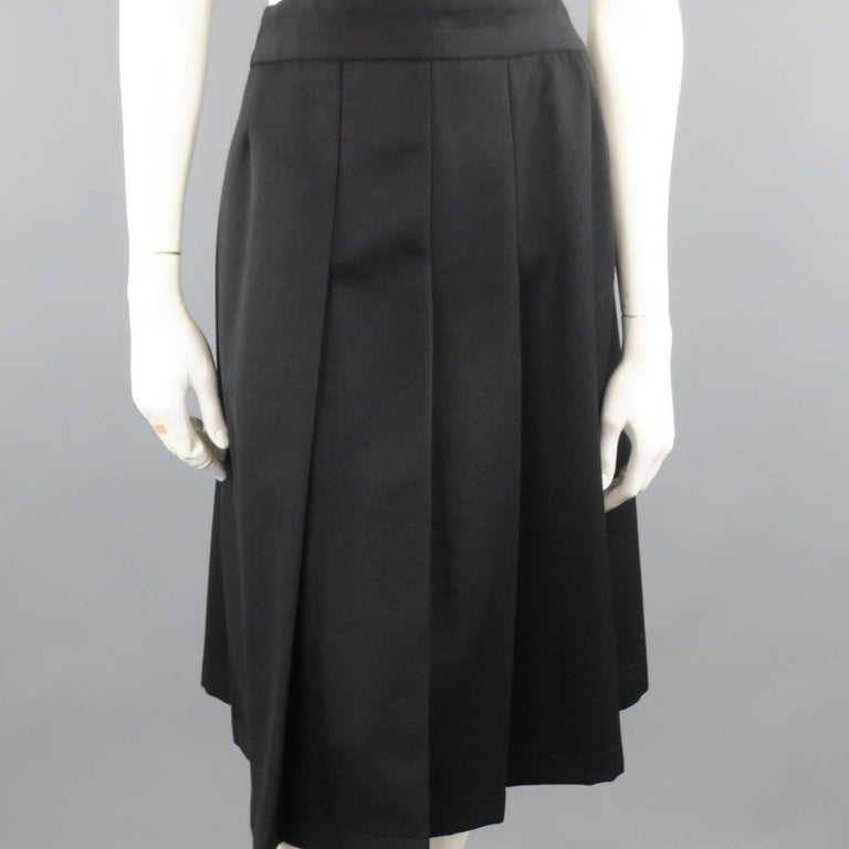 COMME des GARCONS Size L Black Wool Box Pleated Skirt Dress In Excellent Condition For Sale In San Francisco, CA