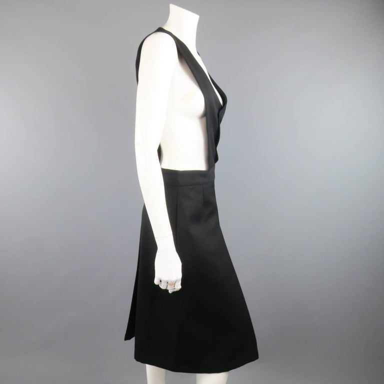 Women's COMME des GARCONS Size L Black Wool Box Pleated Skirt Dress For Sale