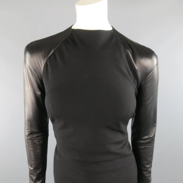 RALPH LAUREN Collection 2012 Size 4 Black Wool Leather ...