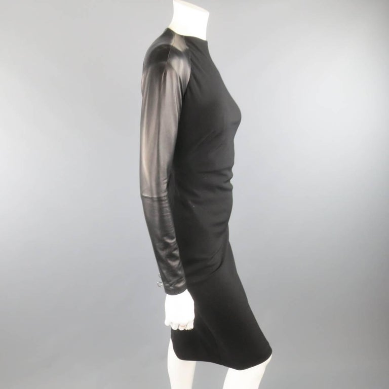 Ralph Lauren Black Wool Leather Sleeve Megan Gown / Dress, Collection 2012  In Excellent Condition For Sale In San Francisco, CA