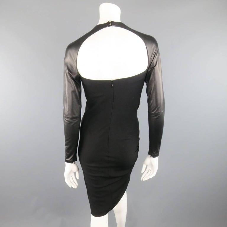 Ralph Lauren Black Wool Leather Sleeve Megan Gown / Dress, Collection 2012  For Sale 1