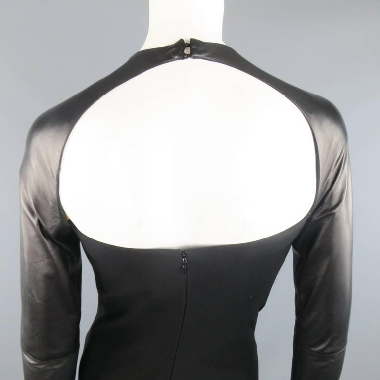 Ralph Lauren Black Wool Leather Sleeve Megan Gown / Dress, Collection 2012  For Sale 2