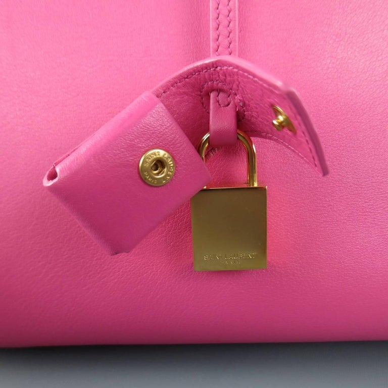 SAINT LAURENT Pink Leather Small Sac Du Jour Handbag 4