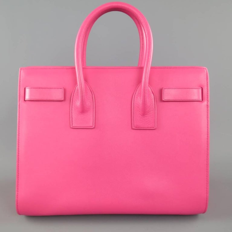 SAINT LAURENT Pink Leather Small Sac Du Jour Handbag 6