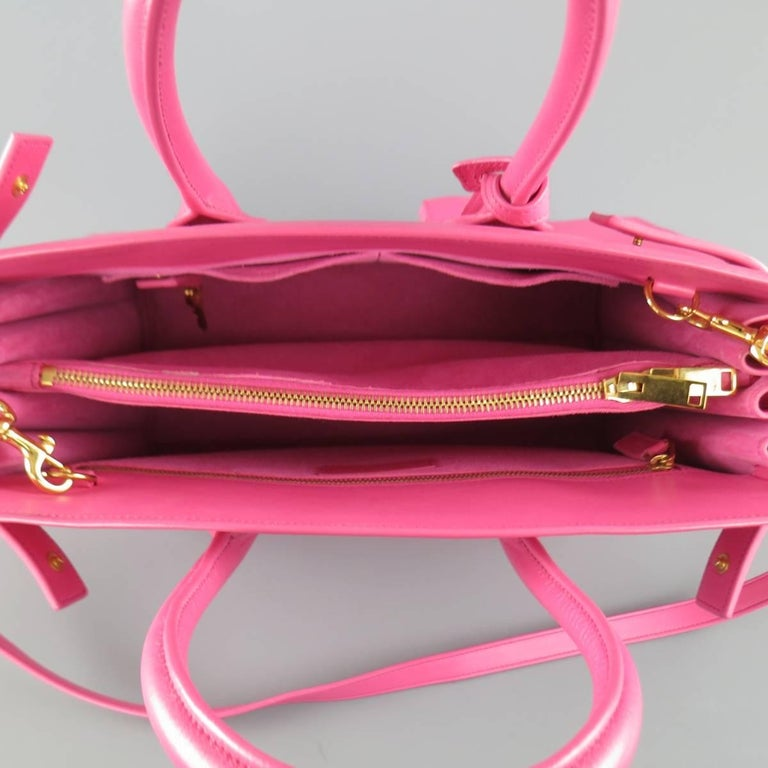 SAINT LAURENT Pink Leather Small Sac Du Jour Handbag 7