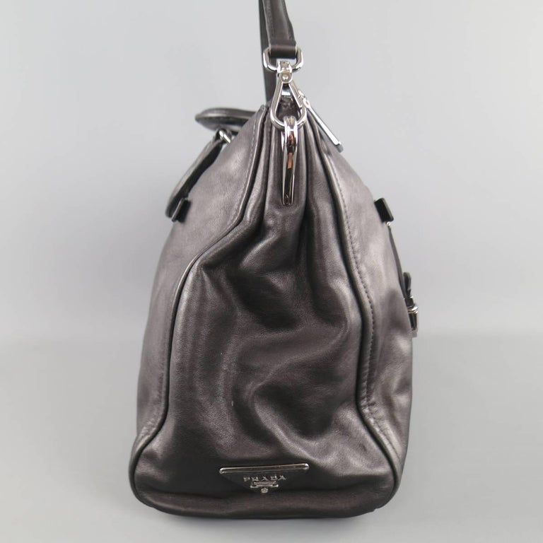 PRADA Black Leather Snap Zipper Shoulder Handbag 3