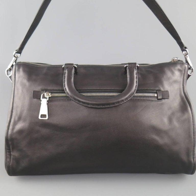 PRADA Black Leather Snap Zipper Shoulder Handbag 6