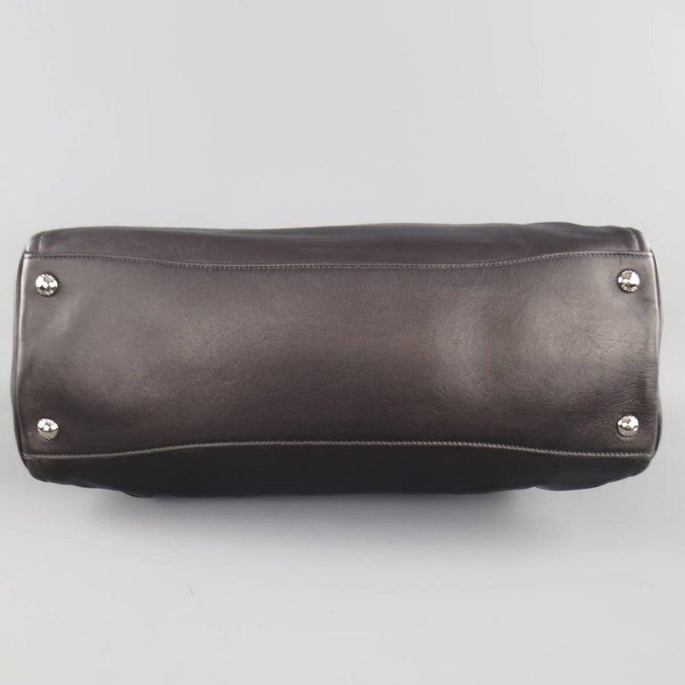 PRADA Black Leather Snap Zipper Shoulder Handbag 8