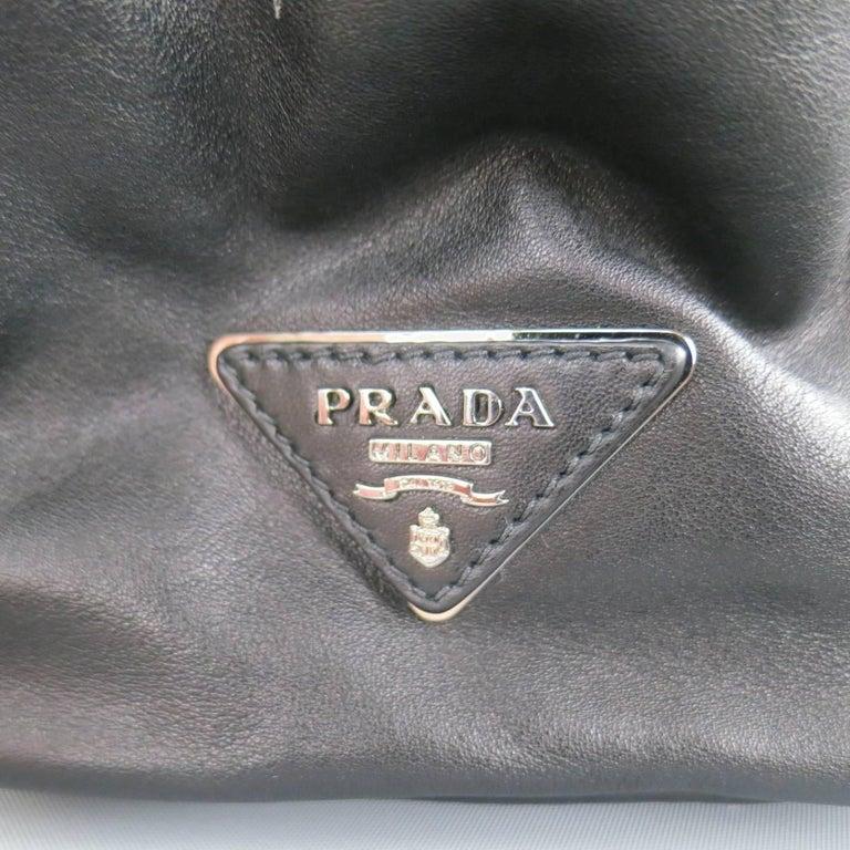 PRADA Black Leather Snap Zipper Shoulder Handbag 4