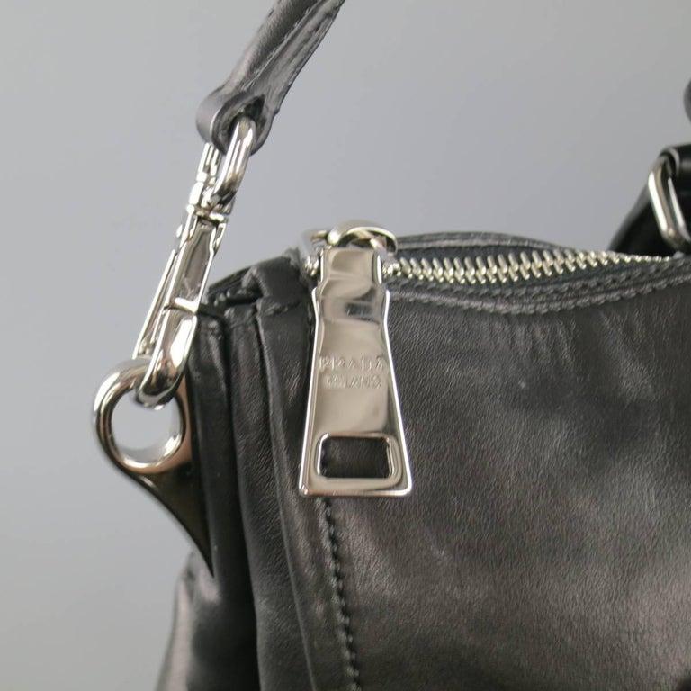 PRADA Black Leather Snap Zipper Shoulder Handbag 5