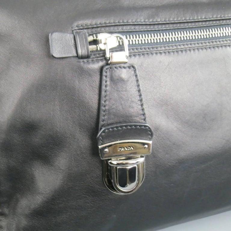 PRADA Black Leather Snap Zipper Shoulder Handbag 2