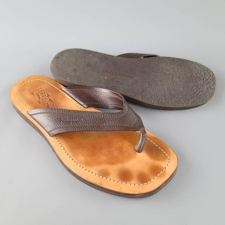 12d1fae9b07e Men s SALVATORE FERRAGAMO Size 11 Brown Textured Leather Thong Sandals In  Fair Condition For Sale In