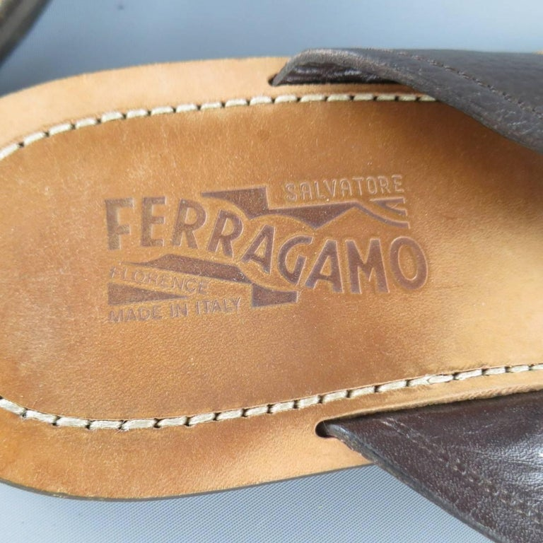 d302210a4bef Men s SALVATORE FERRAGAMO Size 11 Brown Textured Leather Thong Sandals For  Sale 2