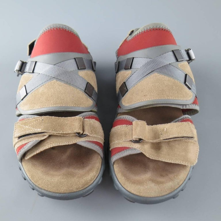 Men S Lanvin Size 10 Beige And Red Neoprene And Suede