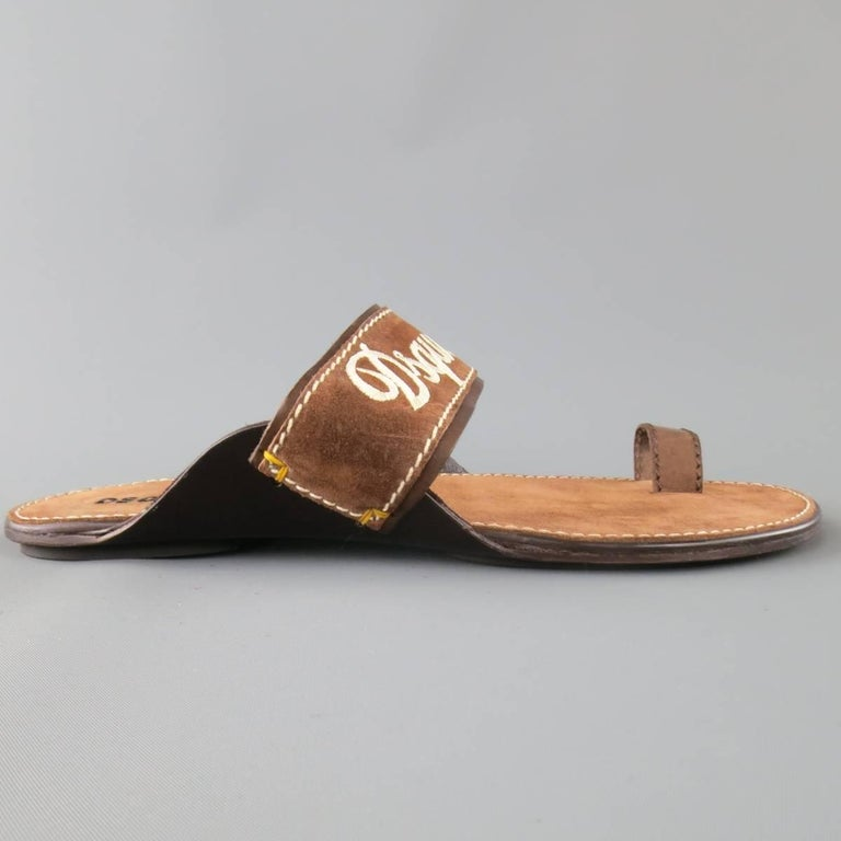 Men's DSQUARED2 Size 8 Brown Embroidered Logo Suede Sandals In Excellent Condition For Sale In San Francisco, CA