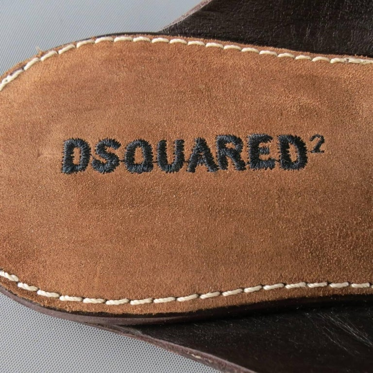 Men's DSQUARED2 Size 8 Brown Embroidered Logo Suede Sandals For Sale 2