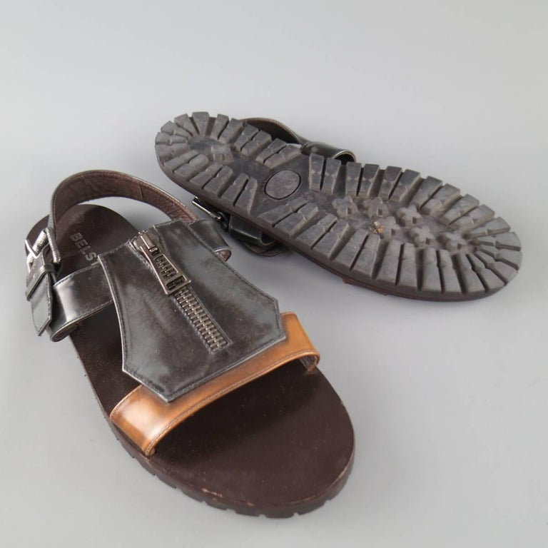 Men's BELSTAFF Size 9.5 Black & Brown Two Toned Patent Leather Zip Sandals In Good Condition For Sale In San Francisco, CA