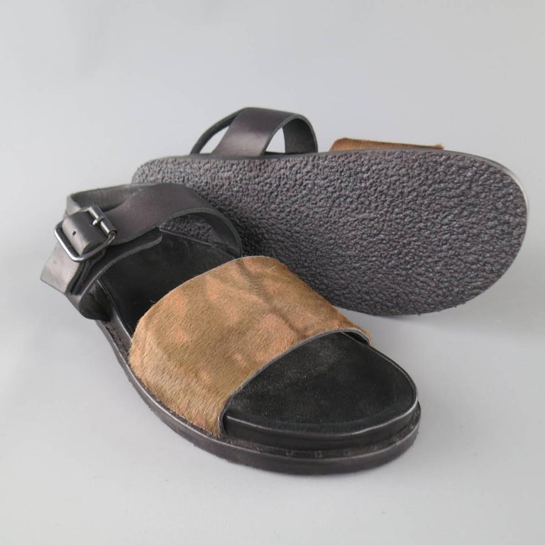 Men's ALLSAINTS SPITALFIELDS Size 11 Black & Brown Two Toned Leather Sandals In New Condition For Sale In San Francisco, CA