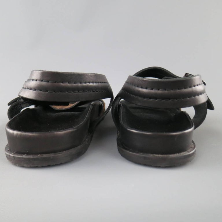 Men's ALLSAINTS SPITALFIELDS Size 11 Black & Brown Two Toned Leather Sandals For Sale 2