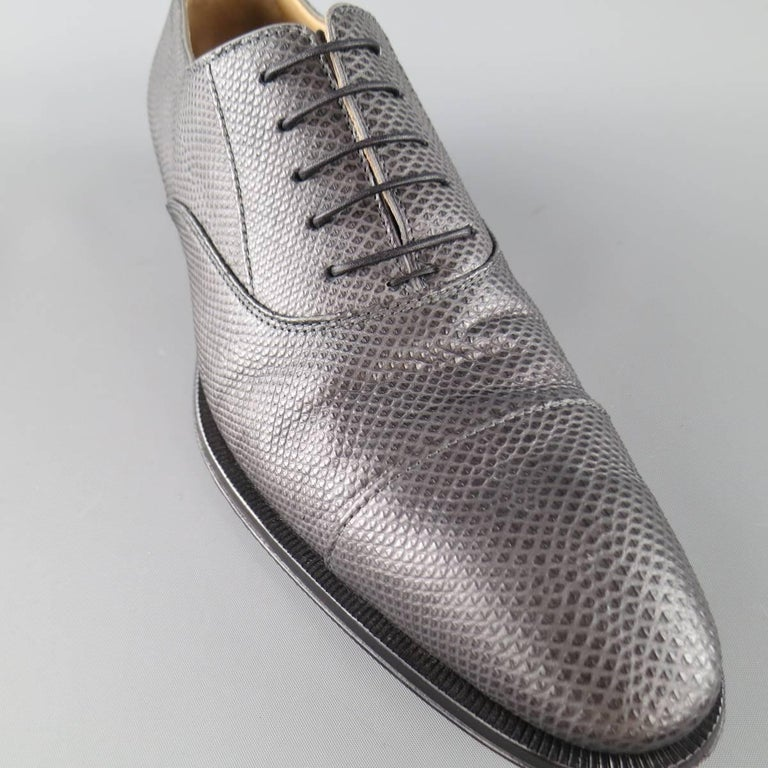 GIORGIO ARMANI Size 9.5 Grey Lizard Karung Textured Lace Up 4
