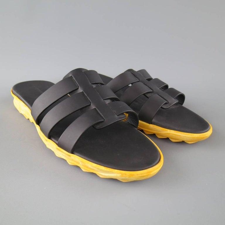 Men's CHRISTOPHER KANE Size 11 Black Leather Yellow Rubber Sole Sandals In Excellent Condition For Sale In San Francisco, CA