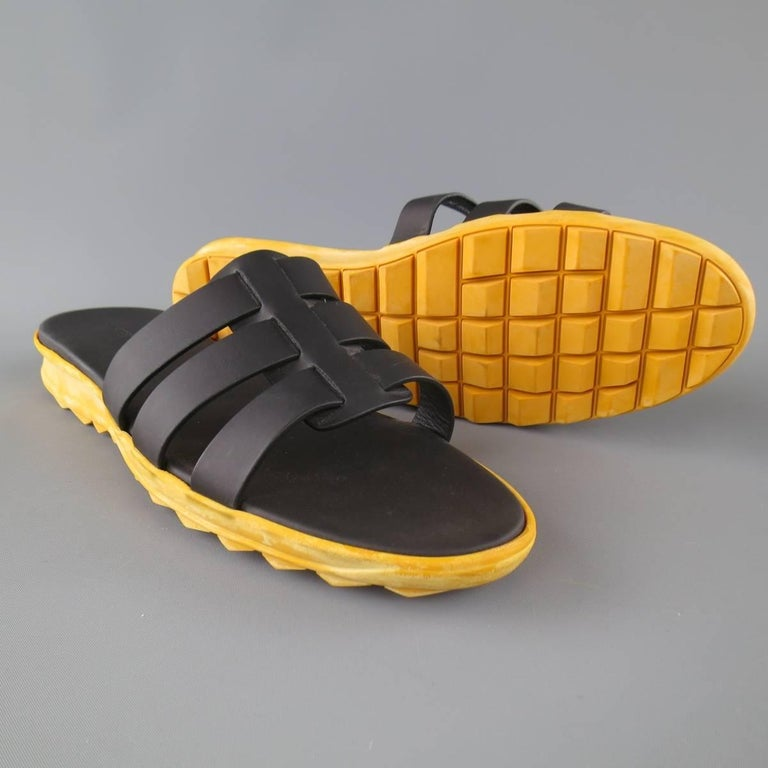 Men's CHRISTOPHER KANE Size 11 Black Leather Yellow Rubber Sole Sandals For Sale 1