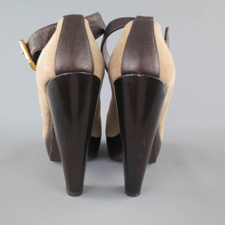 Women's GIUSEPPE ZANOTTI Size 6 Grey Suede Thick Sole Ankle Strap Platform Pumps For Sale