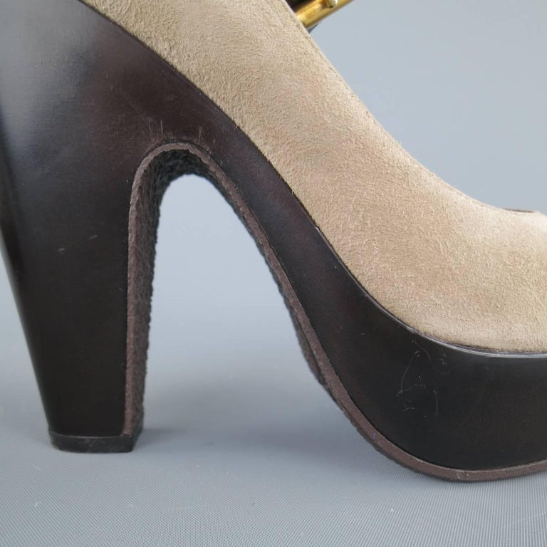 GIUSEPPE ZANOTTI Size 6 Grey Suede Thick Sole Ankle Strap Platform Pumps For Sale 1