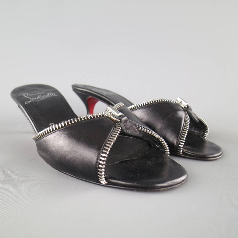 CHRISTIAN LOUBOUTIN Size 7.5 Black Leather Zipper Trim Kitten Heel Mules 2