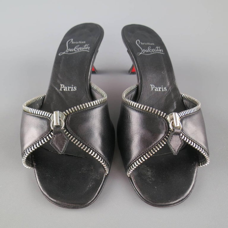 CHRISTIAN LOUBOUTIN Size 7.5 Black Leather Zipper Trim Kitten Heel Mules 4