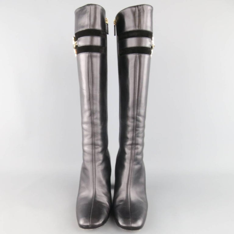 GUCCI Size 8 Black Leather Knee High Gold Horsebit Boots In Excellent Condition For Sale In San Francisco, CA