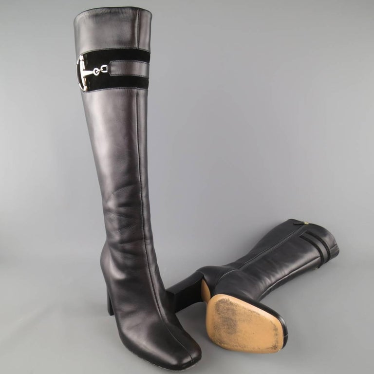 Women's GUCCI Size 8 Black Leather Knee High Gold Horsebit Boots For Sale