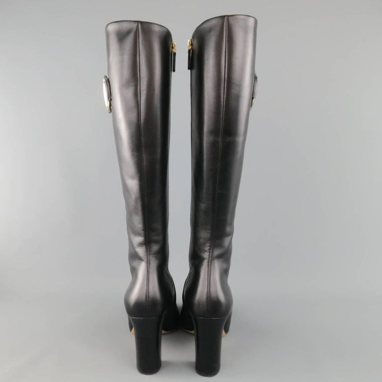 GUCCI Size 8 Black Leather Knee High Gold Horsebit Boots For Sale 1