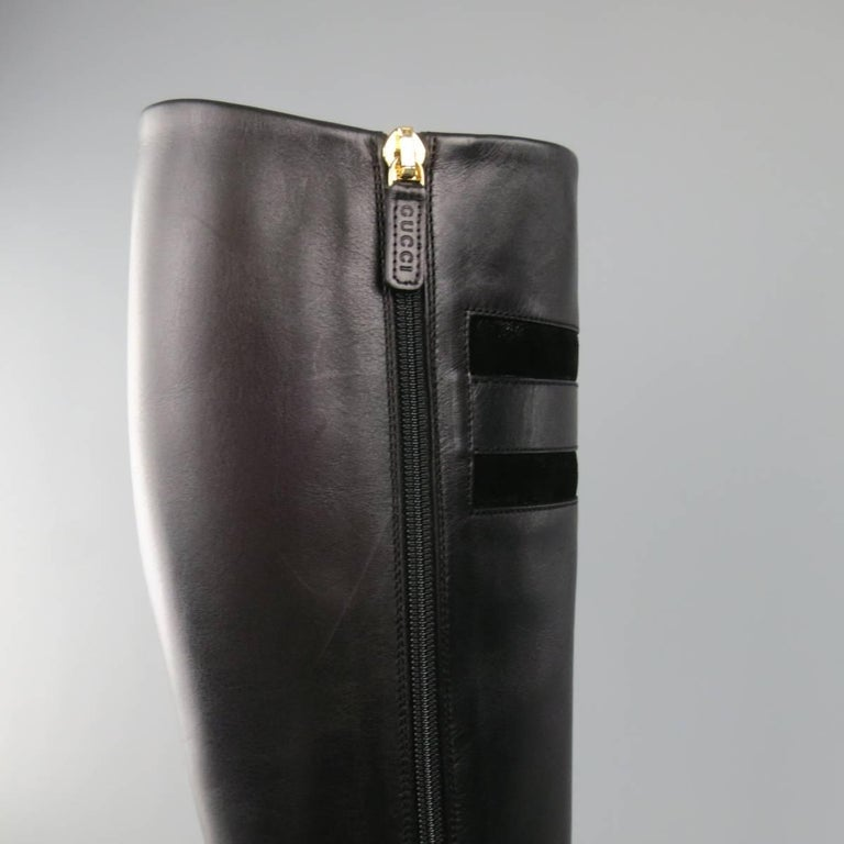 GUCCI Size 8 Black Leather Knee High Gold Horsebit Boots For Sale 2