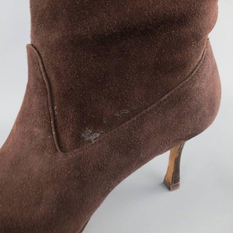 Manolo Blahnik Size 8 Brown Suede Pointed Toe Knee High