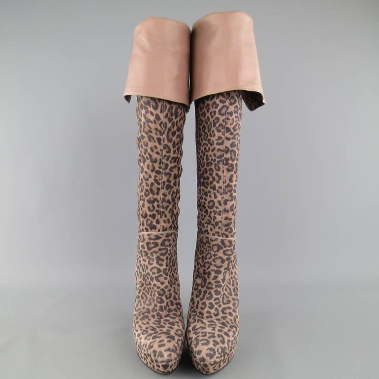 SERGIO ROSSI over-the-knee boots come in a taupe cheetah leopard print suede and feature a pointed toe with covered platform, taupe leather lining, and covered stiletto heel. Made in Italy.   Excellent Pre-Owned Condition. Marked: IT 36