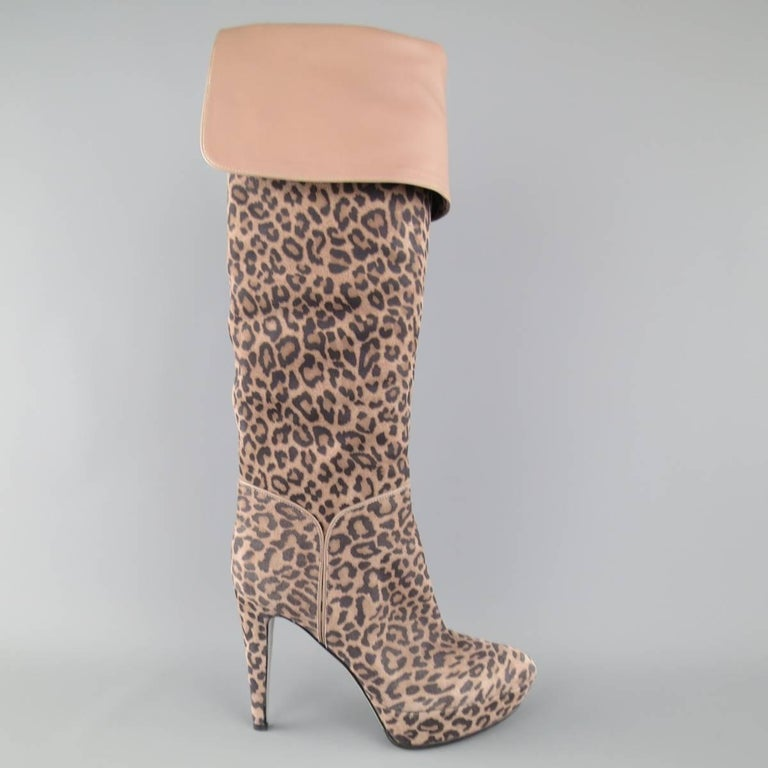 Brown SERGIO ROSSI Size 6 Taupe Leopard Print Suede Over The Knee Platform Boots For Sale