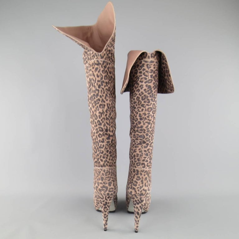 SERGIO ROSSI Size 6 Taupe Leopard Print Suede Over The Knee Platform Boots For Sale 2