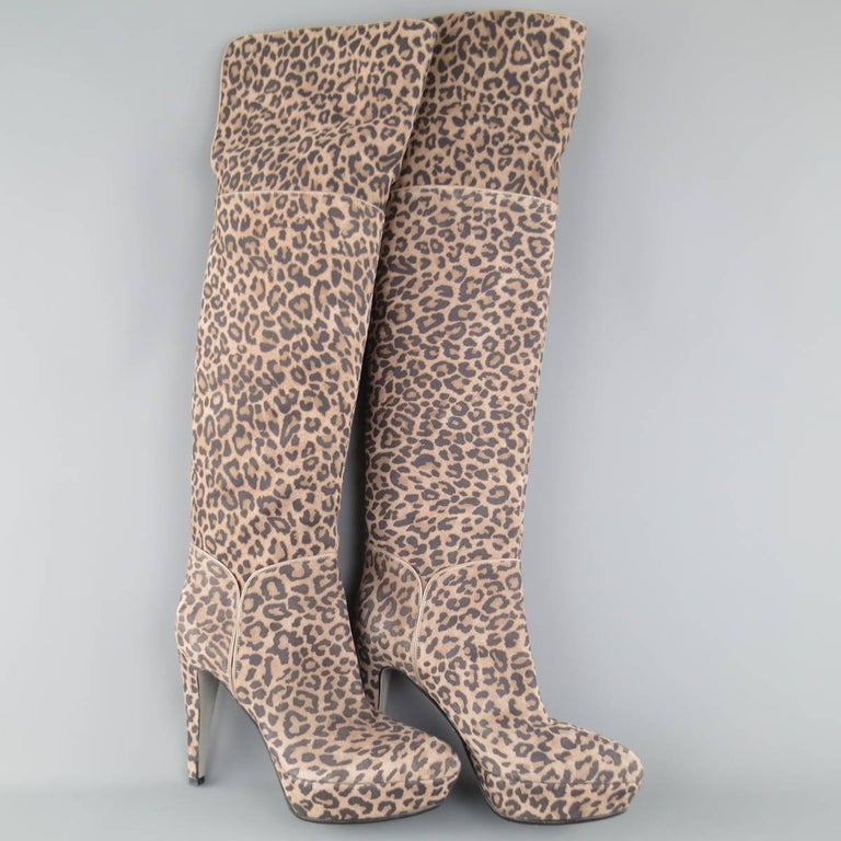 SERGIO ROSSI Size 6 Taupe Leopard Print Suede Over The Knee Platform Boots In Excellent Condition For Sale In San Francisco, CA