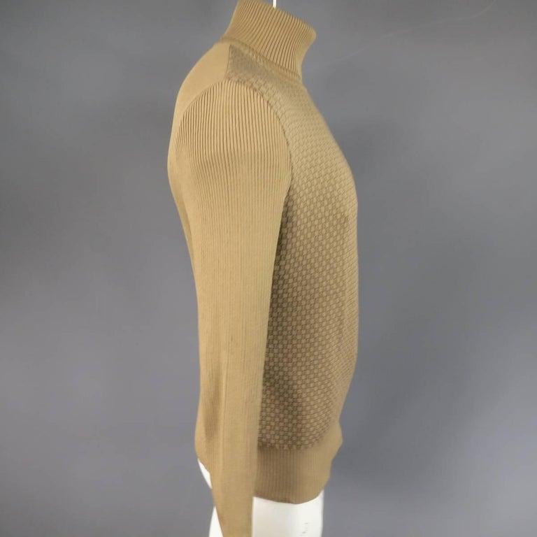 Men's GUCCI Size L Khaki & Brown Ribbed G Monogram Print Silk Turtleneck 4
