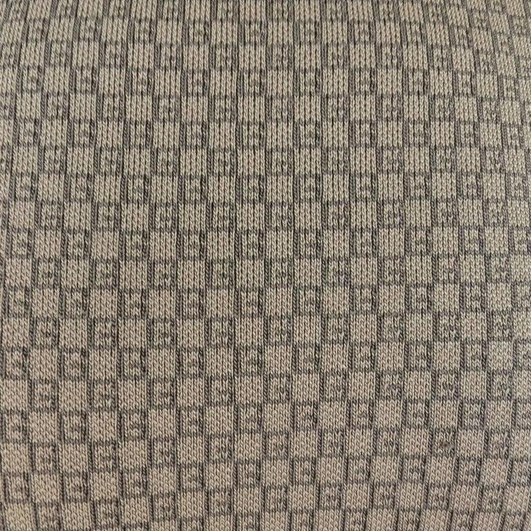 Men's GUCCI Size L Khaki & Brown Ribbed G Monogram Print Silk Turtleneck 3