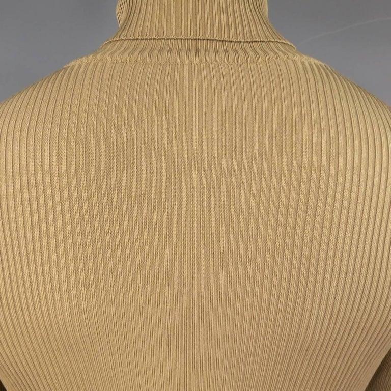 Men's GUCCI Size L Khaki & Brown Ribbed G Monogram Print Silk Turtleneck 7