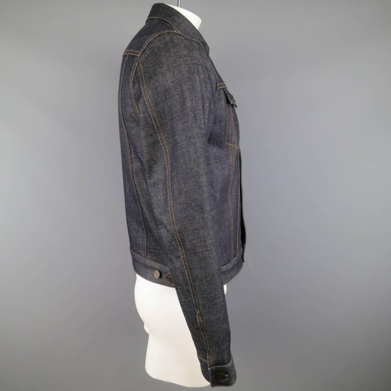 Men's BURBERRY BRIT L Indigo Contrast Stitch Selvedge Denim Trucker Jacket 6