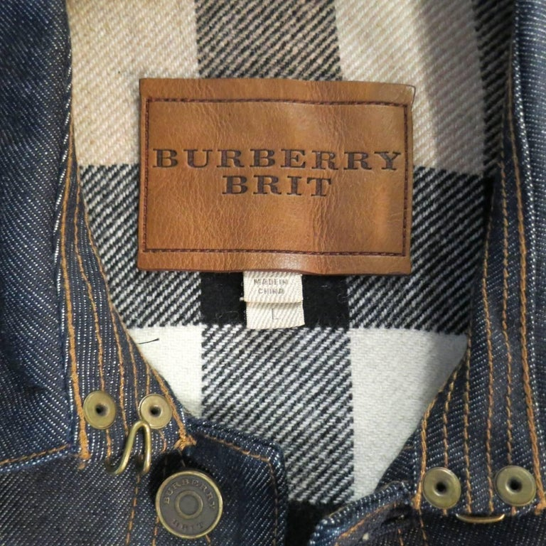 Men's BURBERRY BRIT L Indigo Contrast Stitch Selvedge Denim Trucker Jacket 8