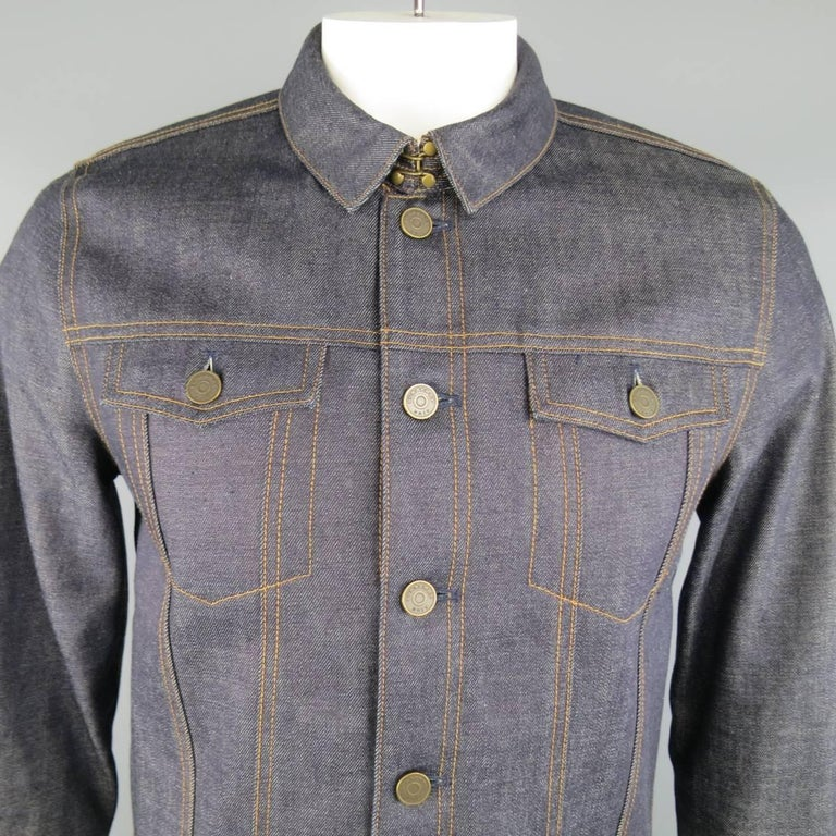 Men's BURBERRY BRIT L Indigo Contrast Stitch Selvedge Denim Trucker Jacket 2